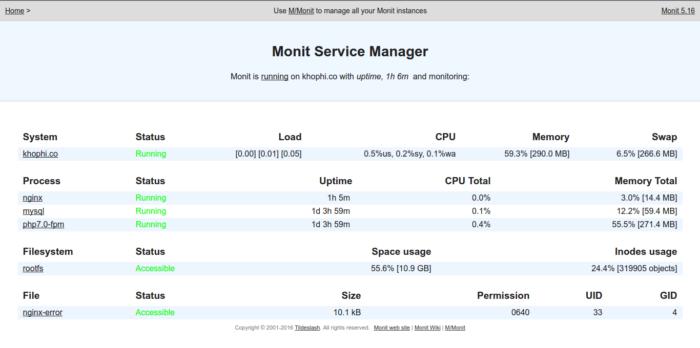 Monit LEMP in Action - monit monitoring