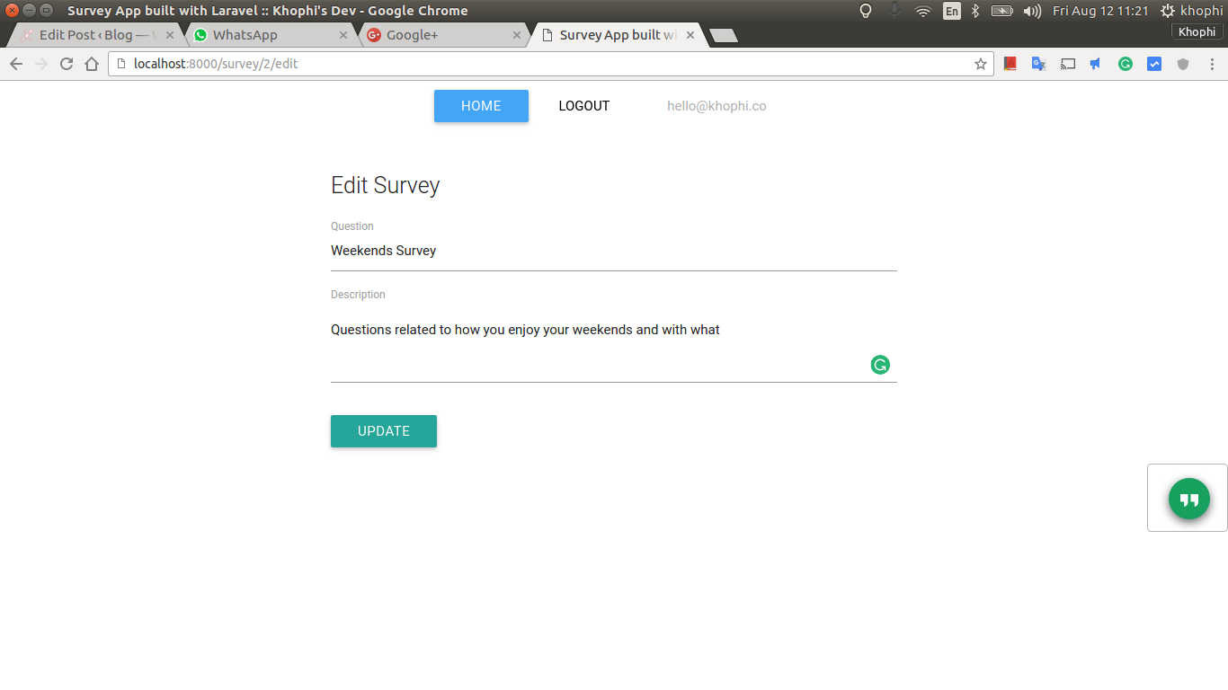Survey App in Laravel Screenshot