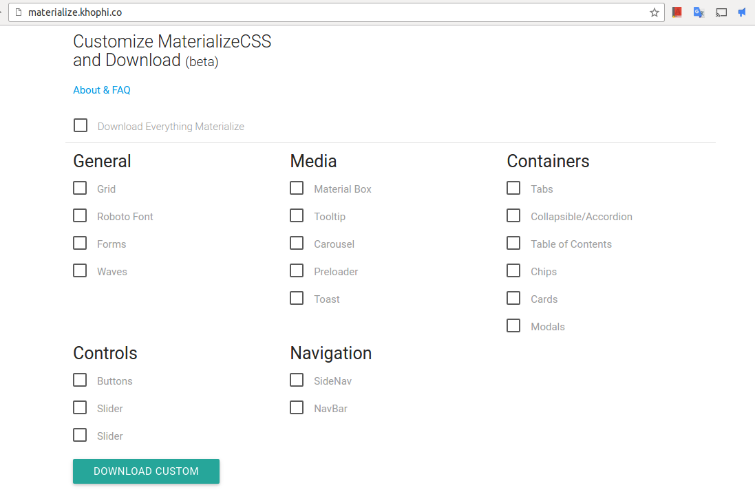 Customize MaterializeCSS Before Download in Browser