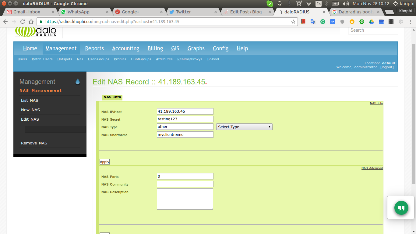 Radius Server Inside Out - DaloRADIUS Nginx DD-WRT Captive