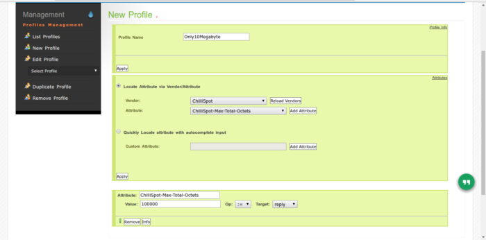 Create Profile Daloradius