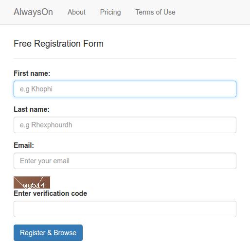 Enlarge Signup Free Captcha