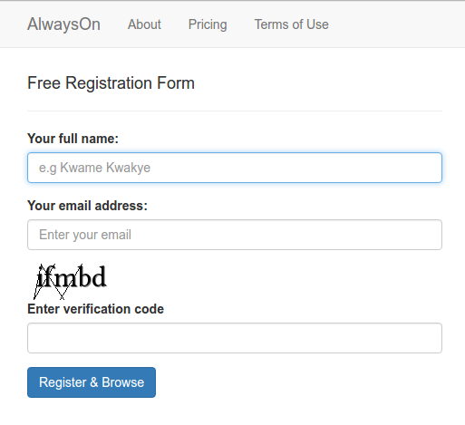 Responsive Captcha Sign Up Free