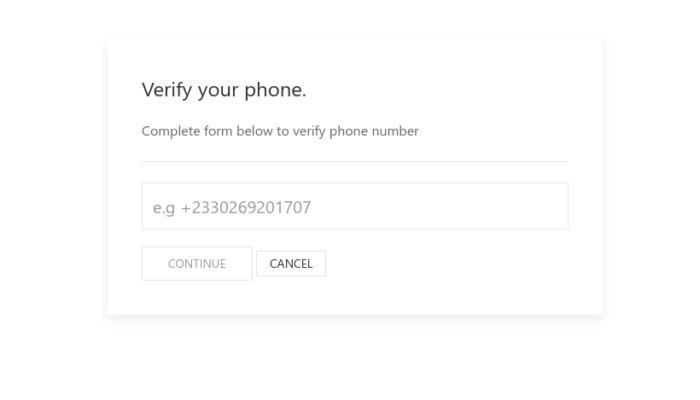 Phone verification UI